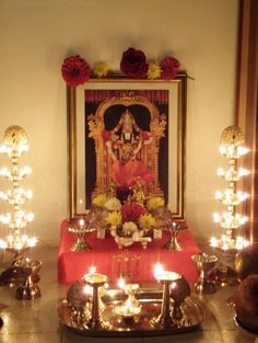 Puja room in modern indian apartments pooja room for Simple diwali home decorations