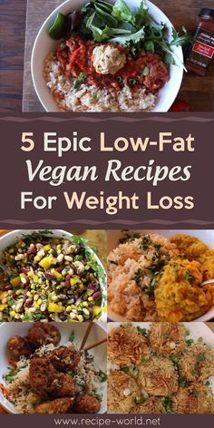 Recipe World 5 Epic Low-Fat Vegan Recipes For Weight Loss – Recipe World - Healthy Recipes Low Fat Vegan Recipes, Vegan Dinner Recipes, Vegan Dinners, Vegan Recipes Easy, Diet Recipes, Locarb Recipes, Cake Recipes, Atkins Recipes, Bariatric Recipes