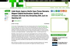 http://techcrunch.com/2013/05/16/indie-music-agency-merlin-says-itunes-remains-biggest-digital-destination-spotify-and-amazon-2nd-and-3rd-streaming-still-just-an-opening-act/ ... | #Indiegogo #fundraising http://igg.me/at/tn5/