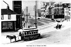 First horse car at Portage and Main - October 1882 Winnipeg's horse-car service was inaugurated. Horse-cars continued to provide transportation for almost twelve years. October 20, Rural Area, Black And White Pictures, Photo Archive, Old Cars, Vintage Photos, Past, Transportation, Cable