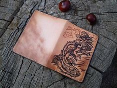 Dragon, Leather passport cover, Pyrography, Handcrafted, Travel Document, Wallet, Holder, Vintage effect, Personalized leather gift, Custom  Image made using the technique of pyrography.   Size (folded) - 100 mm х 135 mm / 3,93 x 5,31 Size (opened) - 195 mm х 135 mm / 7,67 x 5,31