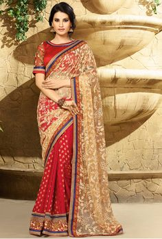 Beige And Red Net And Viscose Jacquard Designer Saree #viscose #resham #embroidery #Trendy #casual #sari #saree #WomenClothing #WomenWear #Designersari #stylishsari #nikvik #usa #designer #australia #canada #malaysia #UAE #freeshipping price-US$78.44.  Sign up and get USD100 worth vouchers.Offer is valid for limited period.
