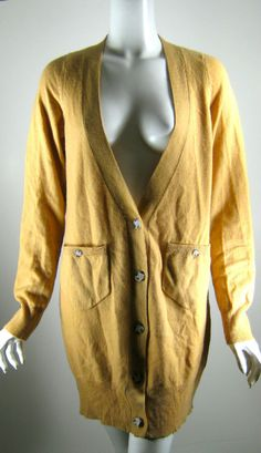 TH Light Brown Cashmere Cardigan Sweater Size Large #TH #Cardigan