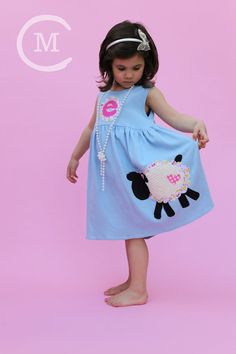 Toddler Easter Dress - Personalized Dress with Lamb Applique- You Choose Dress Color and Sleeve Length on Etsy, $32.00