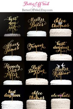 Always and Forever Wedding Cake Topper in Gold by BetterOffWed