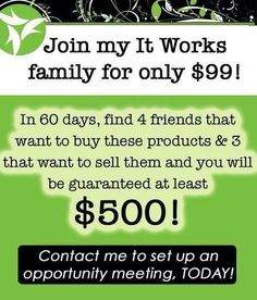 Be happy in your skin, make some major CASH, party, and sell fat wraps!! How can you go wrong? Becomean It works Distributor! http://mahaneyshelby.wix.com/shelbysitworks#!distributing/c1m7d