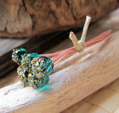 6 Turquoise Glass  Headpins Artisan Copper Head by NadinArtGlass, $12.20