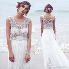 2015 New Arrival Lace Wedding Dresses Crystals Beads Chiffon Sweep Train Maxi Sexy V Neck Luxury Summer Beach Wedding Gowns Bo8632 Designer Lace Wedding Dresses Discount Wedding Gowns From Bestoffers, $153.87| Dhgate.Com