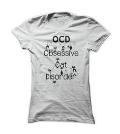 Funny OCD - Obsessive Cat Disorder - Whimsical Black Kitty Cats T Shirt