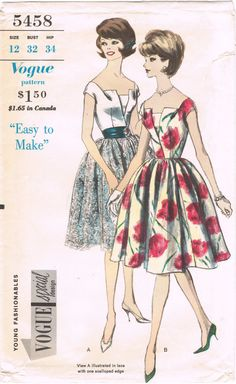 Vogue 5458 - Vintage 1960s Sewing Pattern - Size 12 - Bust 32 - Hip 34 - Young Fashionables - Special Design - One Piece Dress And Petticoat...