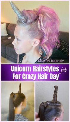 tutorial DIY Unicorn Hairstyle Tutorial For Crazy Hair Day! DIY Unicorn Hairstyle Tutorials For Crazy Hair Day! Crazy Hair Day Girls, Crazy Hair For Kids, Crazy Hair Day At School, Girl Hair Dos, Crazy Hair Days, Kid Hair, Crazy Day, Little Girl Hairstyles, Diy Hairstyles