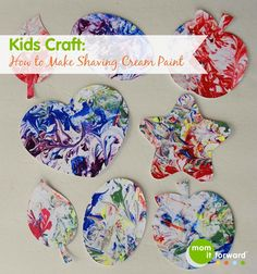 Kids Crafts: How to Make Shaving Cream Paint - Mom it ForwardMom it Forward Painting For Kids, Art For Kids, Crafts For Kids, Arts And Crafts, Diy Crafts, Summer Crafts, Diy Painting, Shaving Cream Painting, Art Party