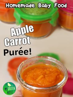Apple carrot purée is super healthy and yummy. I'll show you exactly how to make it along with a few other baby food recipes in this short video / blog post! #BabyFood #Homemade @squeasygear @SquooshiPouches http://MyGreenNest.com *PIN NOW, WATCH LATER
