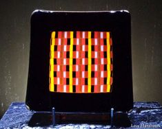 Black with Centre in Oranges & Black Slumped Fused Glass Square Plate Bottle Slumping, Glass Beer Mugs, Getting Fired, Square Plates, Glass Dishes, Safe Food, Fused Glass, Centre, Bubbles