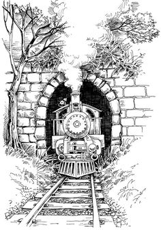 Find Steam train Stock Vectors and millions of other royalty-free stock photos, illustrations, and vectors in the Shutterstock collection. Thousands of new, high-quality images added every day. Landscape Pencil Drawings, Pencil Art Drawings, Art Drawings Sketches, Easy Drawings, Pencil Sketching, Ink Illustrations, Train Drawing, Train Art, Art Sketchbook