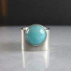 Turquoise Blue Amazonite Wide Band Silver Ring by Tpuhy