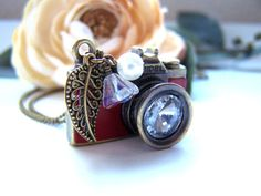 """Red Leather Camera Necklace - Photography Charm, Antique Bronze Leaf, Rhinestone, Nickel Lead Free, Pearl,Czech Glass Flower, 31"""" Long Chain"""