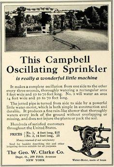 1916 Ad Geo. W. Clarke Campbell Oscillating Lawn Grass Sprinkler Yard CSM1