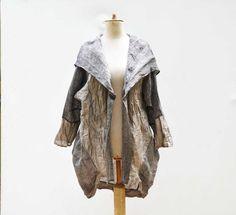 Unique plus size LINEN hoodie, long jacket, woman unique fashion design, oversize natural eco flax hemp clothing art to wear wearable 323