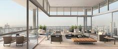 Que terraço incrível! Essa é a cobertura do Onze 180º Ibirapuera, que tem um magnífico terraço integrado ao living com caixilhos piso-teto, 4,8m de altura, pisos nivelados e amplas portas de vidro que permitem que você aproveite essa vista 180º sem igual.