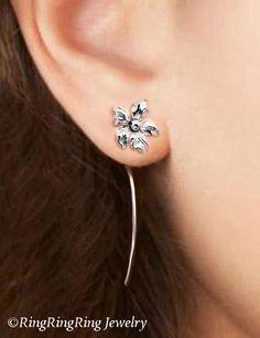 Saintpaulia flower earrings sterling silver earrings jewelry dangle earrings cute small stud earrings long stem earrings Threader E-092 by RingRingRing on Etsy https://www.etsy.com/listing/186710863/saintpaulia-flower-earrings-sterling