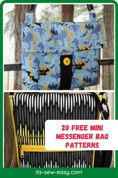 Messenger bags are unisex and appealing to all ages. Whether you like them large or small, plain or bold-colored, in single or multiple pockets, their diversity is what makes them unique. Here are a few patterns you can try out for your new messenger bag. #bagpatterns #messengerbagpattern #sewingpatterns #freepatterns Messenger Bag Patterns, Mini Messenger Bag, Creative Outlet, Kids Bags, Diversity, Bold Colors, Gifts For Friends, Diaper Bag, Sewing Patterns