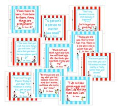 """files of all my Dr. Seuss themed quote signs. Each sign measures 7 3/4"""" x 7 3/4"""" and has a different Dr. Seuss quote."""