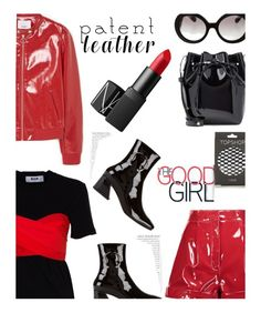 """City Slickers'"" by dianefantasy ❤ liked on Polyvore featuring MSGM, Dorateymur, Valentino, MANGO, NARS Cosmetics, Topshop, Prada, Mansur Gavriel, patentleather and polyvorecommunity"