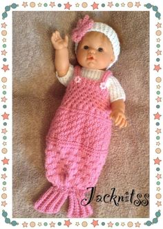 Pink Mermaid Tail Set for 14 inch baby dolls