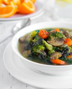 Detox Soup -   coconut or olive oil, sweet onion, garlic, white button mushrooms, carrots, broccoli, salt and pepper, fresh ginger, turmeric, cumin, cinnamon, vegetable broth, nori seaweed, kale, fresh lemon juice.