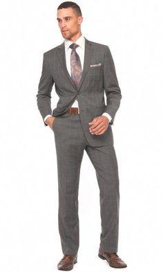 a8ed7b1e0 Belvedere Windowpane Suit - Grey | UTDallas JSOM Career Management Center  #leatherjacketsformengrey Corbatas, Moda