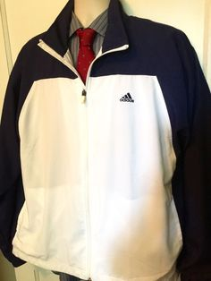 Mens Jacket ADIDAS Sz  L White & Navy Blue Zip Front Lightweight M3 #adidas #BasicJacket