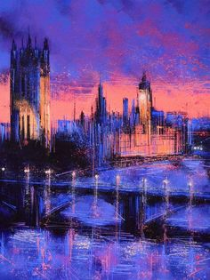 23.6 x 31.5 ARTFINDER: London At Night by Marc Todd - Created on, and shipped on a pre-stretched canvas on a wooden frame...ready to hang unframed if preferred.
