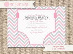 baby shower invitation diaper party shower gender neutral couples shower boy girl baby chevron custom diy or printed card