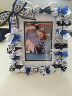 Items similar to Custom Cheering Picture Frame made to match your cheerleaders team bow and uniform colors. on Etsy Football Cheer, Cheer Camp, Cheer Coaches, Cheer Dance, Dance Gifts, Alabama Football, Football Season, American Football, College Football