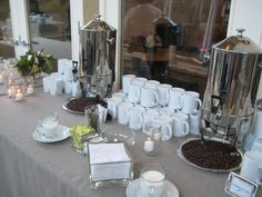 Coffee Station like the idea of coffee beans maybe a shallow and long white platter