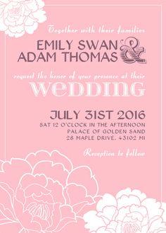 Pink Floral Bridal Shower and Wedding Invitation Design