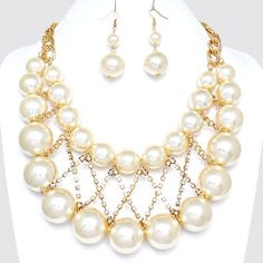 SALE 40% Cream Pearl Statement Necklace - A Night at the Opera - Chunky Pearl Necklace, Bib Necklace