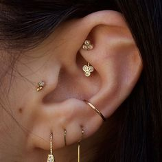 New rook jewelry bringing balance to a great elf ear  tri stone barbell by @bvla #ootd #goldforeverybody #cuteclients #girlswithpiercings