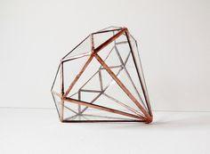 Diamond Terrarium, Stained Glass Planter, Geometric Terrarium, Diamond Shape…