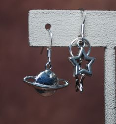 Stars and Planets earrings by AbandonedWarehouse on Etsy Star Trek, Belly Button Rings, Planets, Jewlery, Stars, Earrings, Etsy, Accessories, Jewels