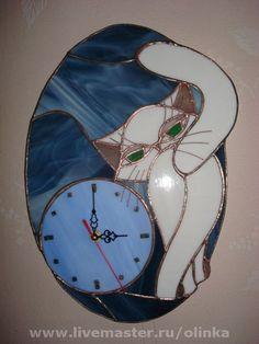 "Часы для дома ручной работы. Ярмарка Мастеров - ручная работа Витражные часы""Лунная кошка"". Handmade."