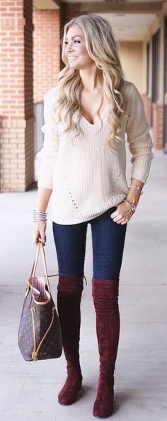 #winter #fashion /  White Knit / Navy Skinny Jeans / Burgundy Velvet OTK Boots / Brown Tote Bag