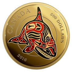 5 oz. Pure Gold Coin with Enamel - Mythical Realms of the Haida Series: The Orca - Mintage: 50 (2016) $12,000.