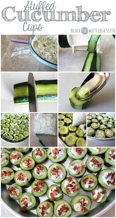 Black and White Obsession: Super Bowl Sunday Party Appetizer: Stuffed Cucumber Cups Finger Food Appetizers, Appetizers For Party, Finger Foods, Appetizer Recipes, Super Bowl Appetizers, Easy Healthy Appetizers, Toothpick Appetizers, Cucumber Appetizers, Parties Food