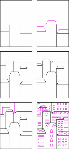 Overlapping Buildings. Fill a page with layers of buildings for a fun drawing.