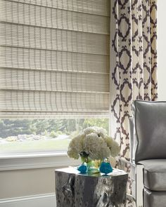 Naturally chic and beautifully refined, the hand-woven materials of Provenance® Woven Wood shades make a stylish complement to any decor. Kitchen Window Treatments With Blinds, Custom Window Treatments, Window Coverings, Woven Wood Shades, Bamboo Shades, Living Room Blinds, Living Room Windows, Kitchen Windows, Hunter Douglas