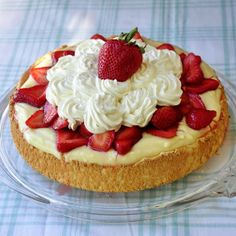 Strawberry Custard Angel Food Shortcake - a luscious, light end to a summer meal or at any time of the year.