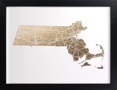 Massachusetts Map Filled Foil-Stamped Wall Art by GeekInk Design | Minted