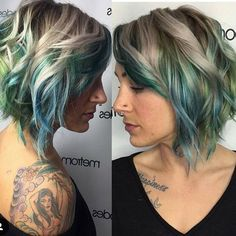 20 Balayage Ombre Short Haircuts , Who does not like balayage ombre short haircuts? Here are some ideas about it. Here are 20 Balayage Ombre Short Haircuts. Balayage hair is one of many. Ombré Short Hair, Short Hair Trends, Curly Short, Blue Balayage, Hair Color Balayage, Peekaboo Hair Colors, Ombre Hair Color, Blue Ombre, Blonde And Blue Hair